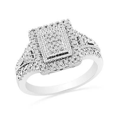 Zales 1/3 CT. T.w. Princess-Cut Diamond Rectangular Frame Ring in Sterling Silver QjcwqY5bpy
