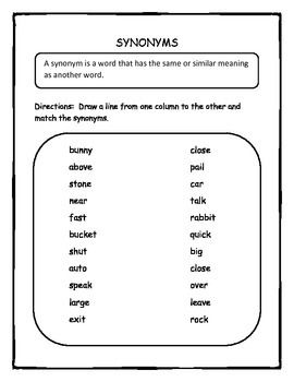 Synonyms and Antonyms Cut and Paste Activity | Elementary