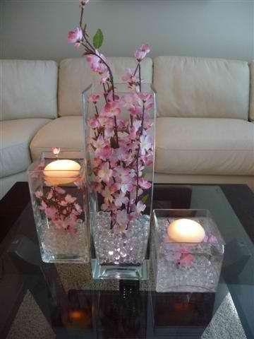 cherry blossom centerpieces | cherry blossom candles