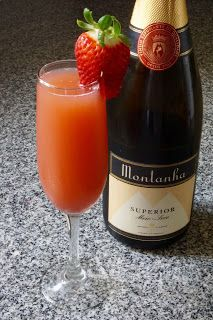 Strawberry mimosa recipe (Summer / house party drink)   http://potsofsmiles.blogspot.co.uk/2016/03/strawberry-mimosa-recipe-summer-house.html