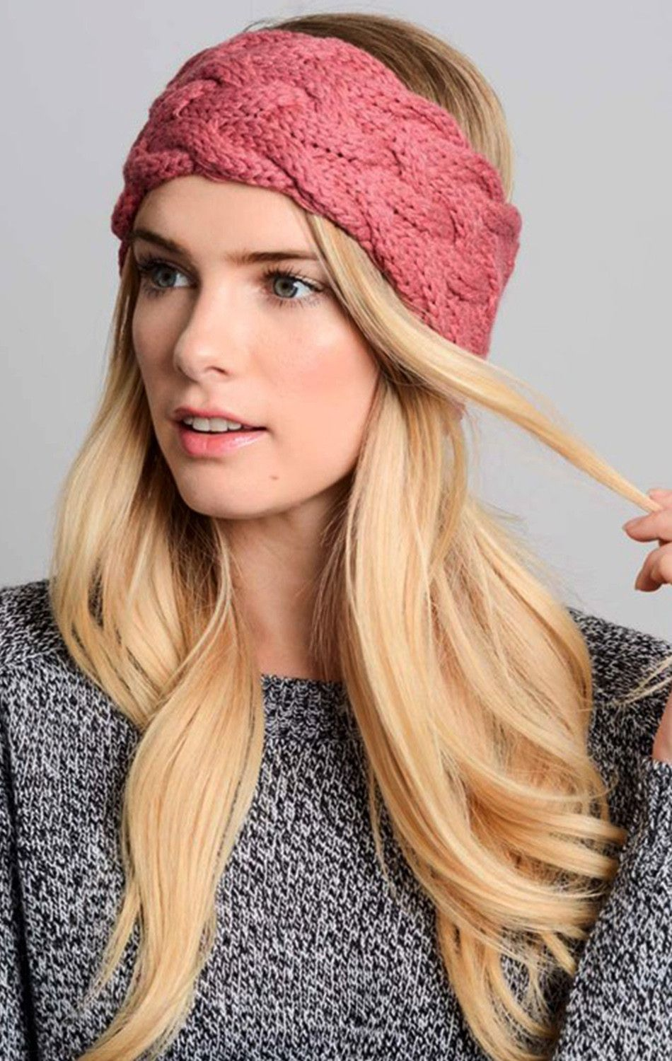 Lola Braided Knit Headband - Rose | Stricken | Pinterest | Mütze ...