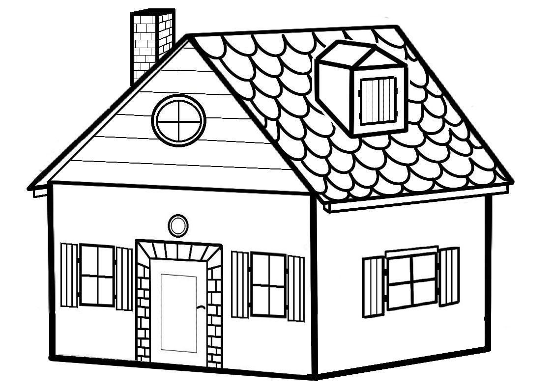 Черно белая картинка домик
