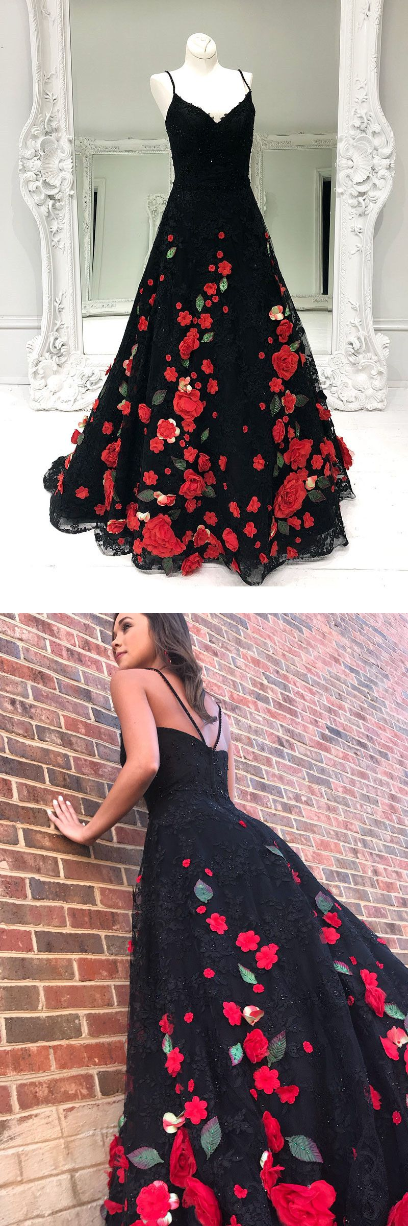 Black lace long prom dress with red floral latest long prom