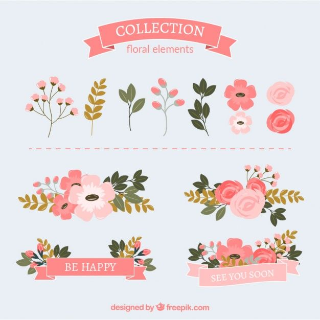 weedings commercial use ok goodnotes png elements great for invitations logos cards Hand drawn floral elements and arrangement