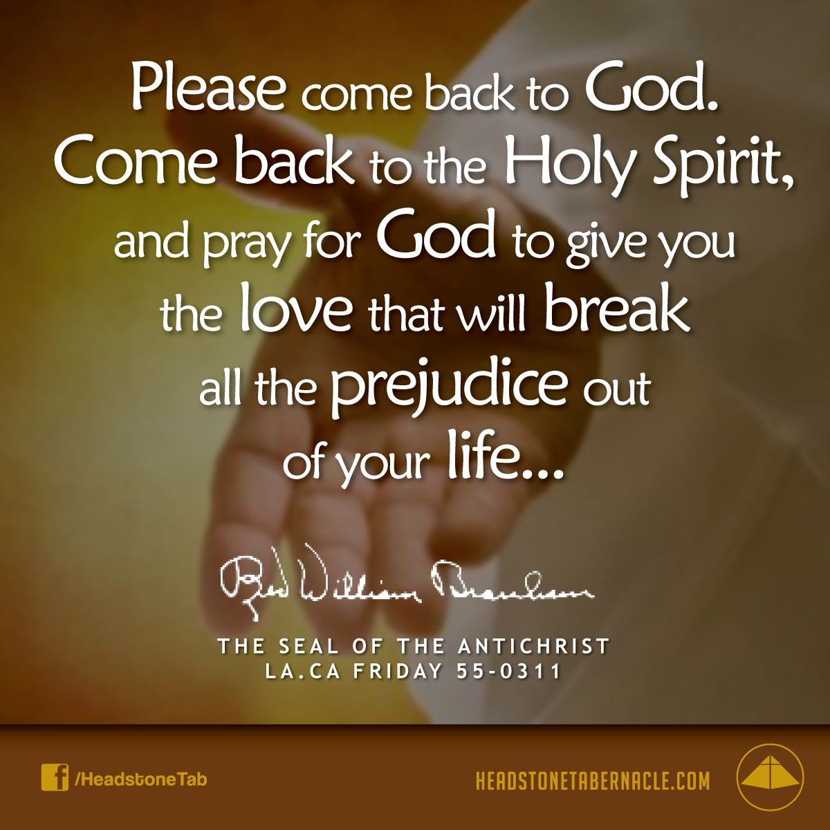Please come back to God. Come back to the Holy Spirit, and