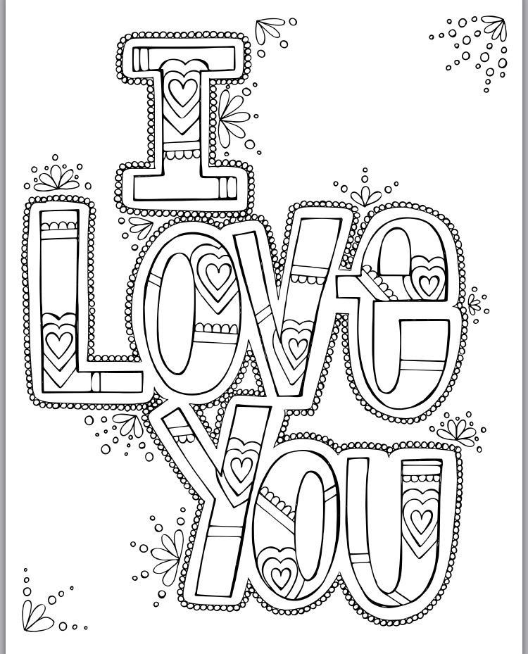 I Love You Coloring Pages In 2020 Love Coloring Pages, Quote Coloring  Pages, Heart Coloring Pages