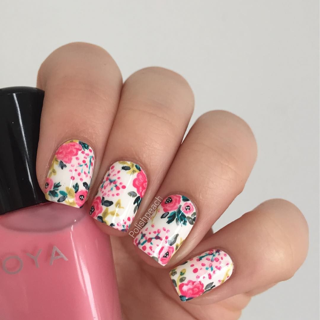 Packapunchpolish floral mix match nail art my nail art coral and yellow floral nails dhlflorist Image collections