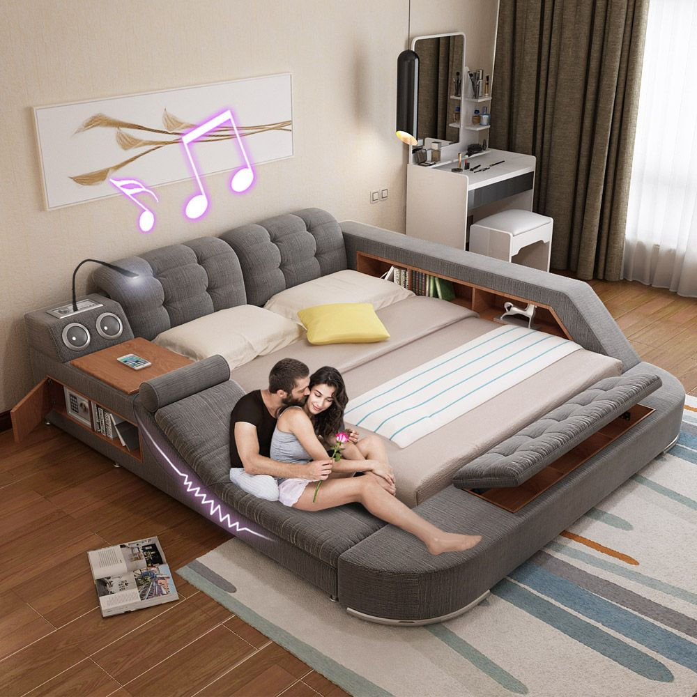 SGD893.13] Massage bed tatami bed fabric bed double bed storage bed ...