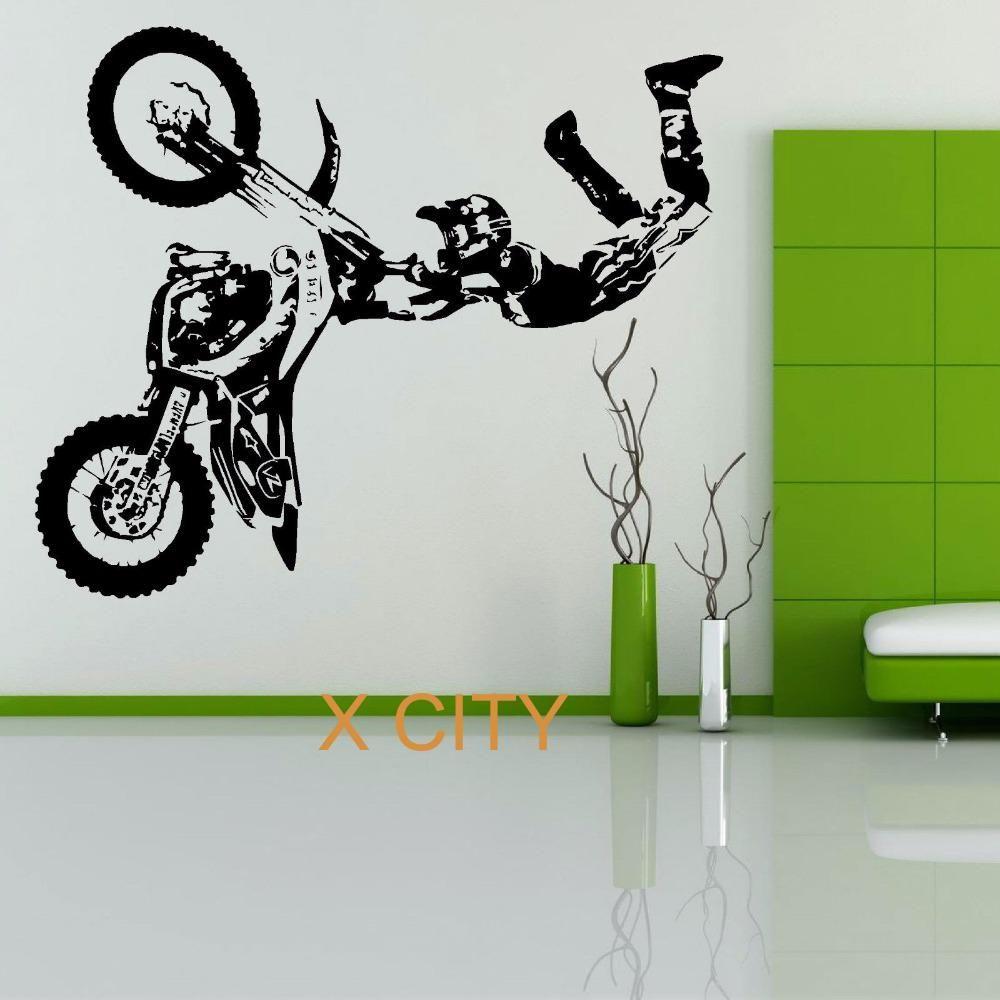 Stunt Bike Motorbike X Games Mx Wall Sticker Motocross Dirt Bike Grapic Creative Vinyl Art Decal Window Mural Home Room Room Stickers Dirt Bike Room Bike Room