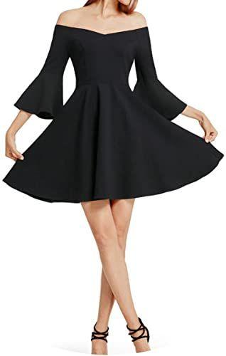 Enjoy exclusive for Cocktail Dresses Women Cocktail Dress 38850PE Black V-Neck Backless Flare Sleeve Unique online #backlesscocktaildress