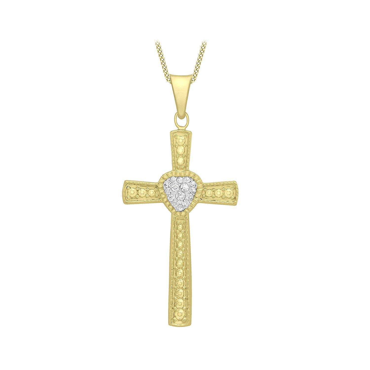 Carissima Gold 9 ct Yellow Gold Cubic Zirconia Cross Pendant on Curb Chain Necklace of 46 cm/18 inch cxdxxuIhP