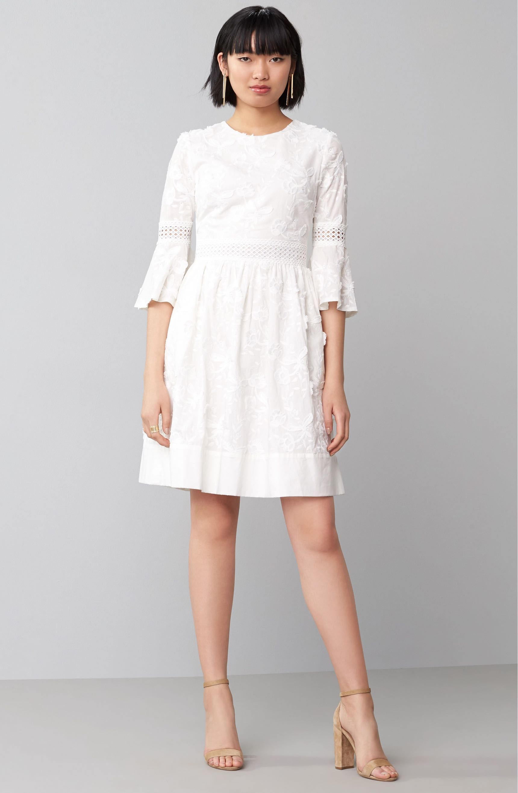 Gorgeous white Fit & Flare Dress with lace detail & bell sleeves ...