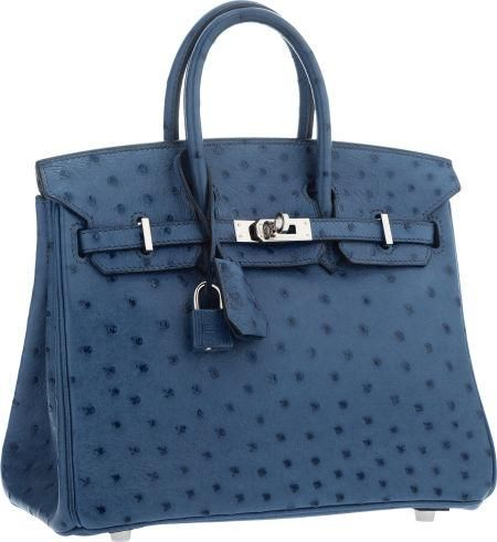 eea0ffb018b0 Hermes 25cm Blue Roi Ostrich Birkin Bag with Palladium Hardware ...