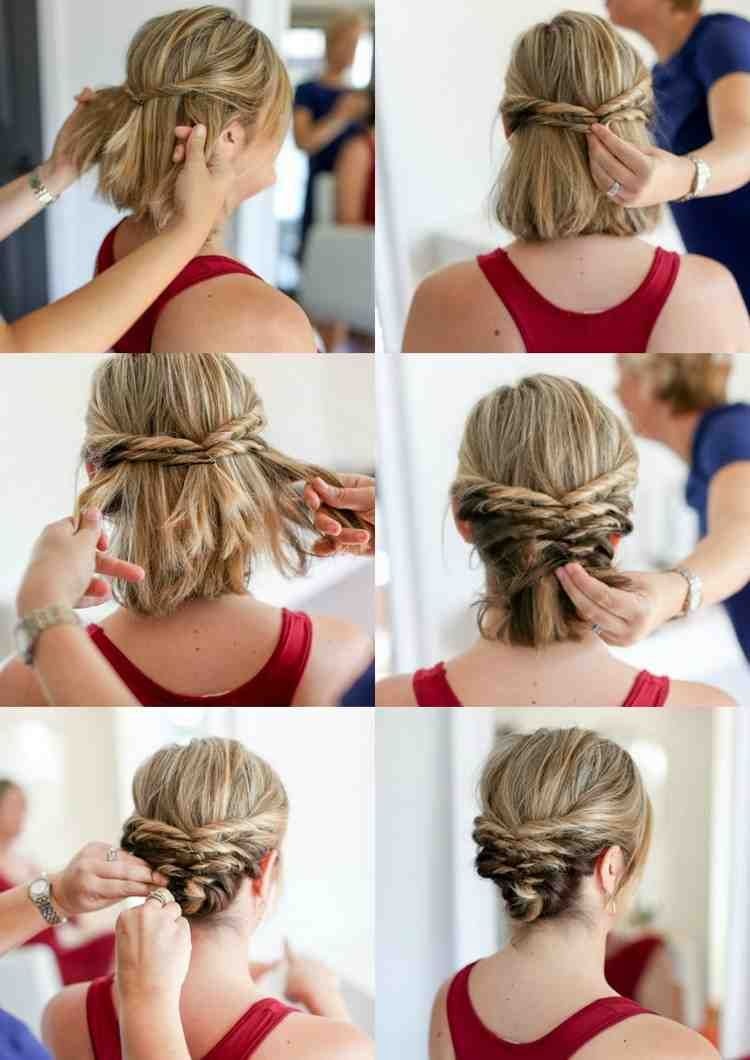 Updos With Instructions For Every Occasion And Every Hair Length Every Instructions Le Short Hair Updo Short Hair Styles For Round Faces Medium Hair Styles