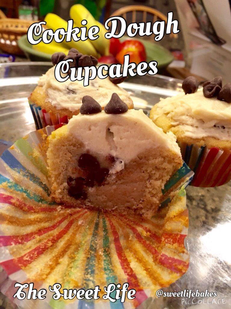 This mouth-watering cupcake includes a ball of unbaked cookie dough and a creamy cookie dough frosting to top it off! Recipe from Sally's Baking Addiction