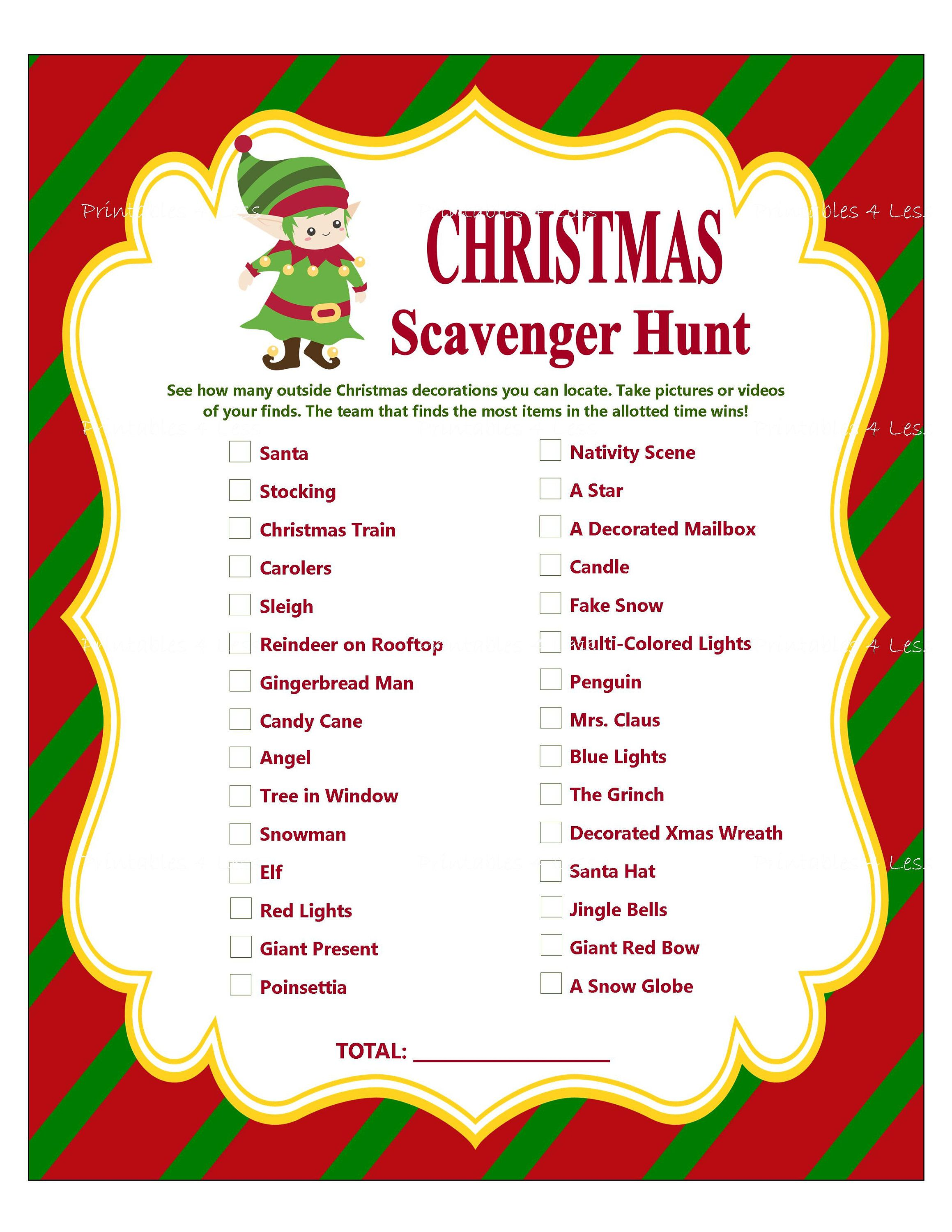 Christmas Scavenger Hunt, Printable Christmas Party Game