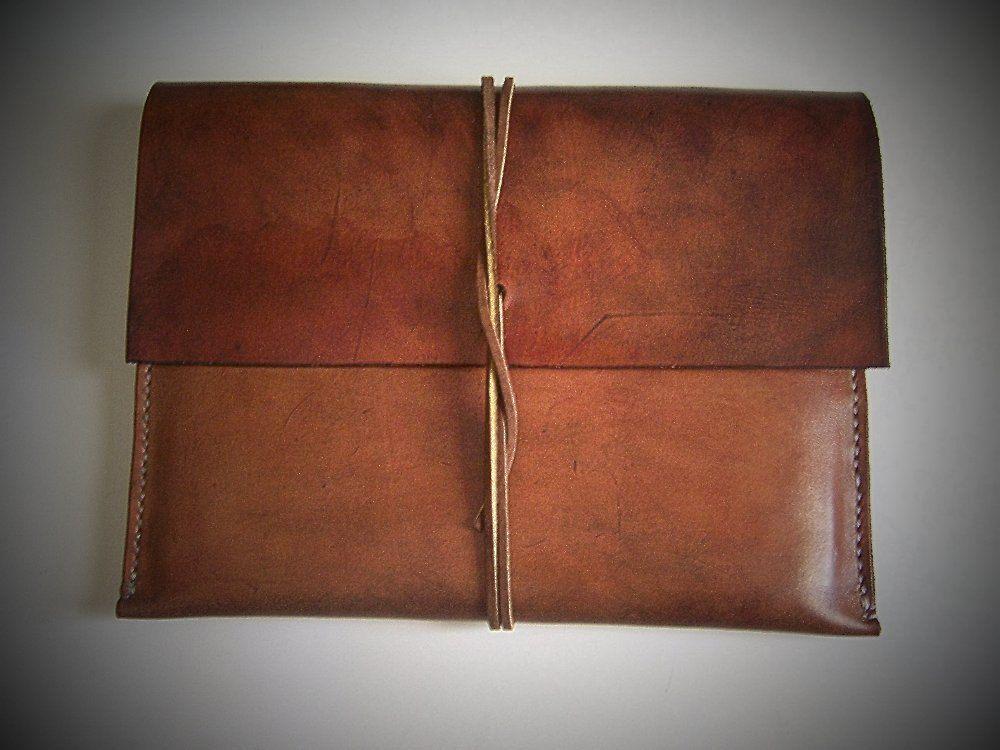 Leather Ipad Sleeve  Case  Envelope  Folio for IPAD 2 or 3 Full - leather resume folder