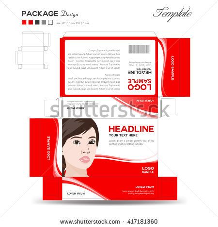 Supplements and Cosmetic box design,Package design,template,box - flyer outline