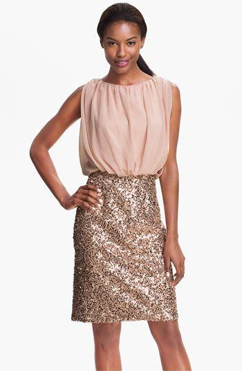 Suzi Chin for Maggy Boutique Chiffon & Sequin Blouson Dress