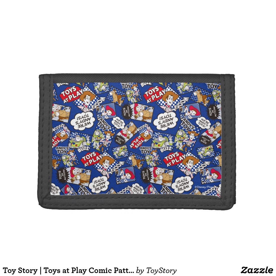 Toy story toys at play comic pattern trifold wallet in toy