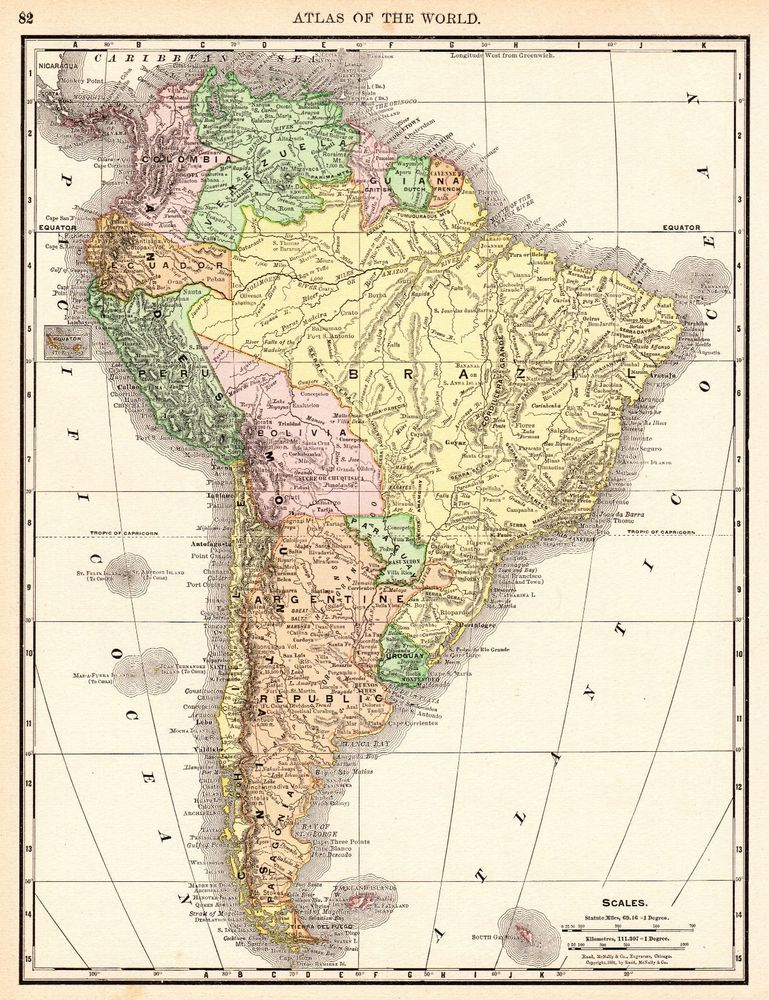 1892 Antique South America Map Vintage Map Of South America