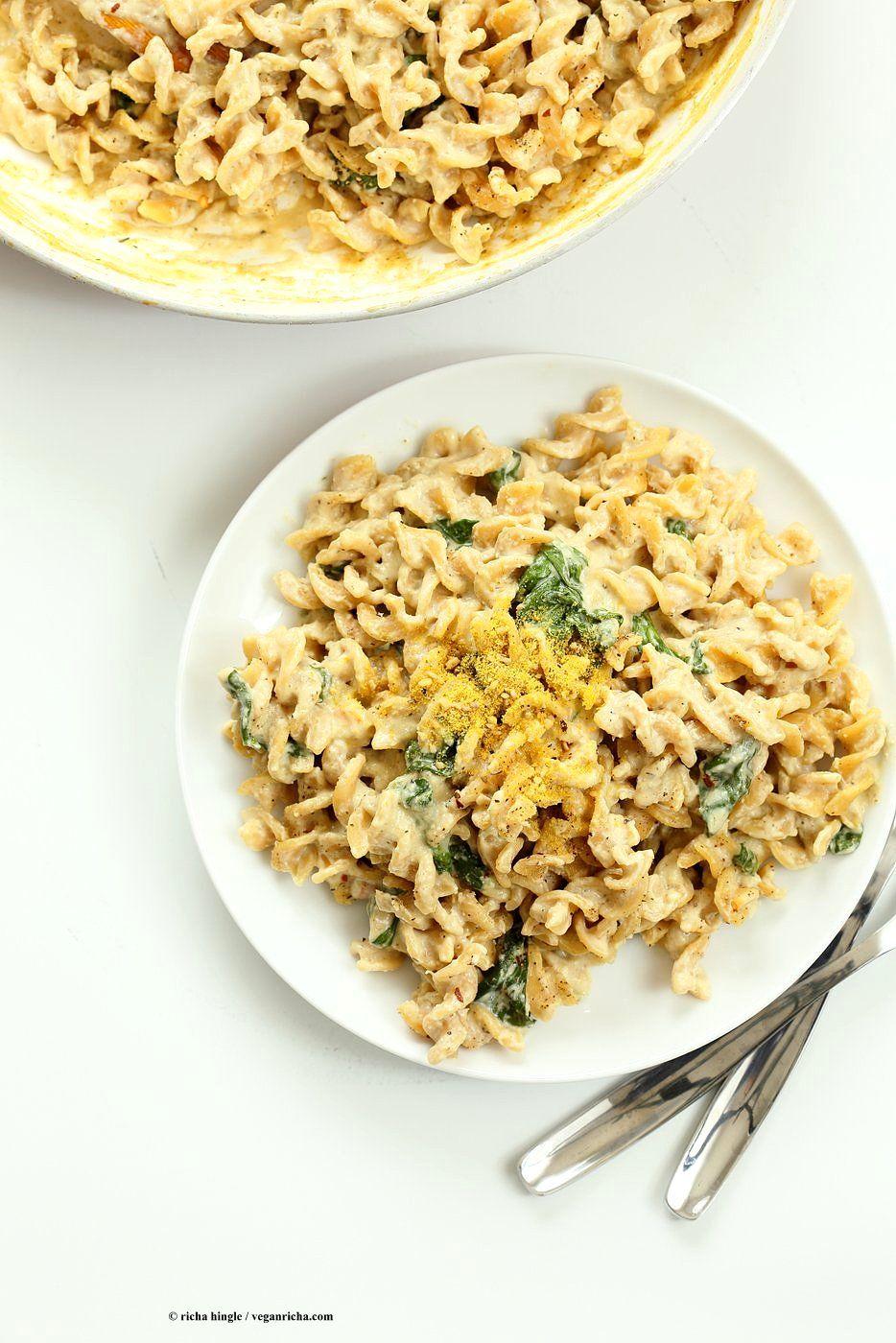 Pumpkin Seed Alfredo Fusilli Nut Free Vegan Alfredo Recipe Vegan Richa Recipe Vegan Recipes Vegan Alfredo Alfredo Recipe
