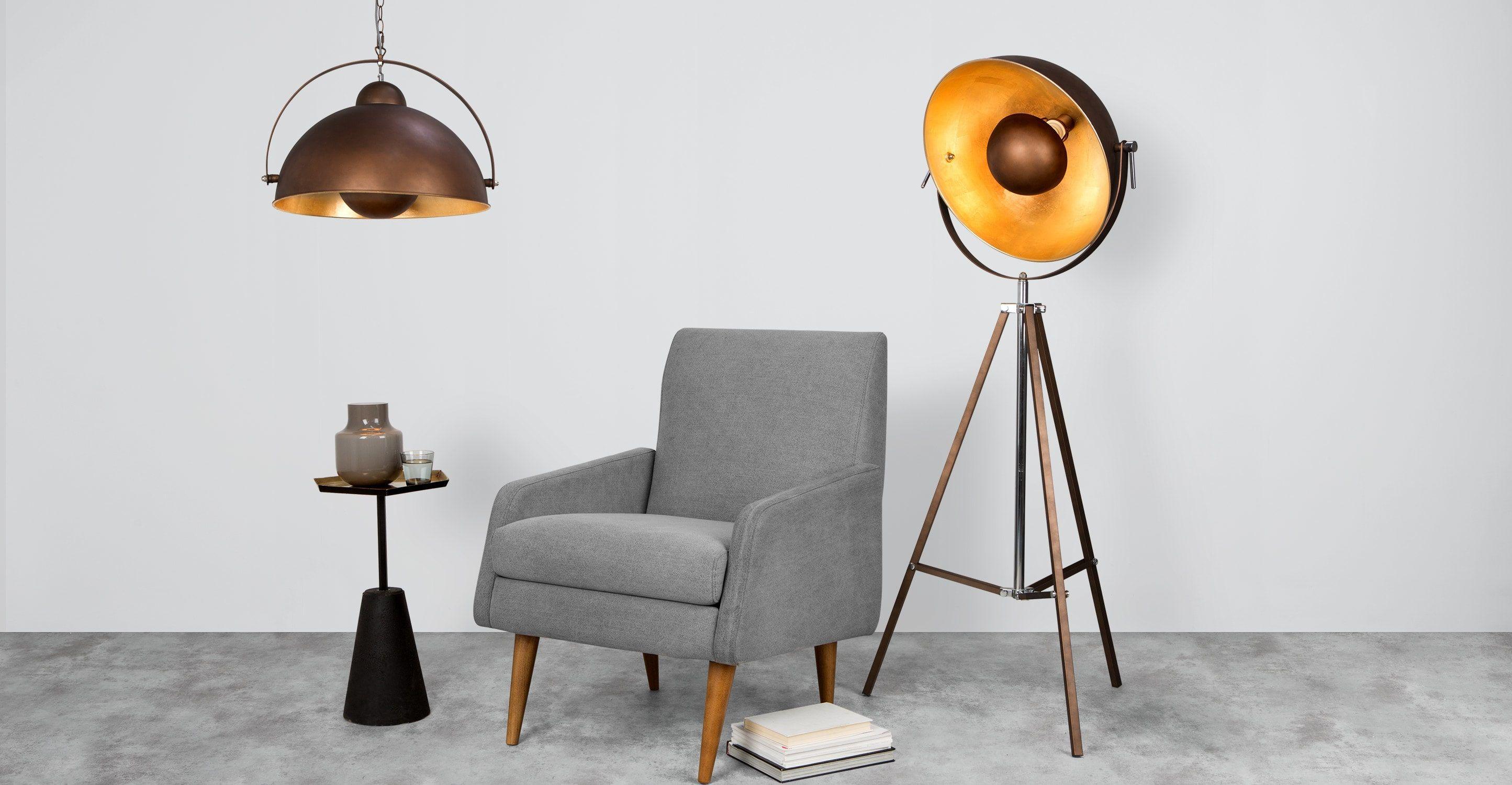 Chicago Tripod Stehlampe Kupfer Und Gold Copper Floor Lamp