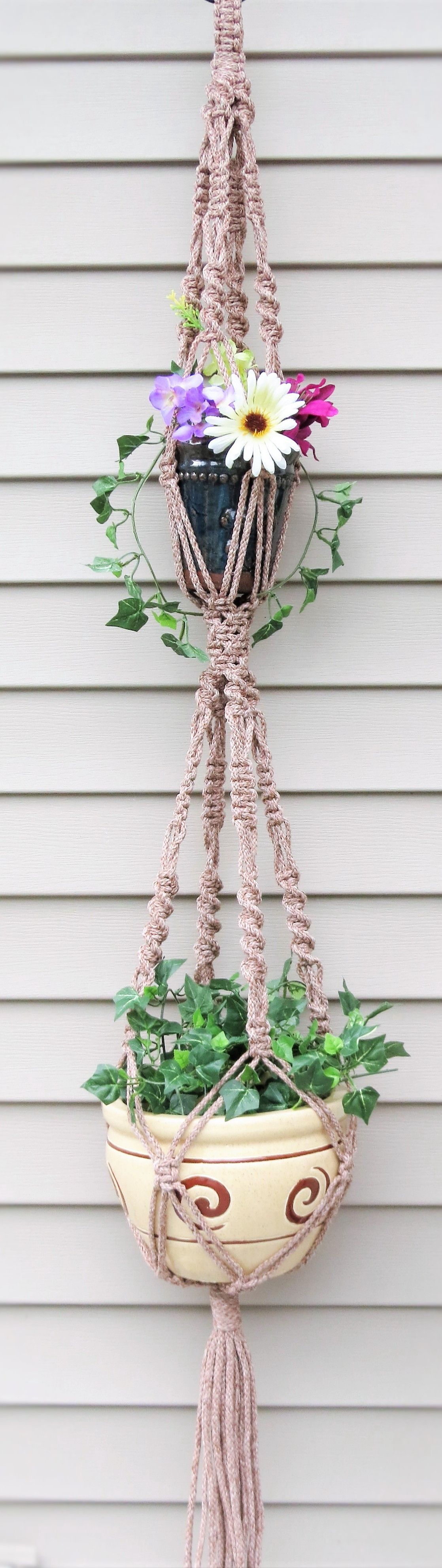 double macrame hanging planter 2 tier plant holder pot holder