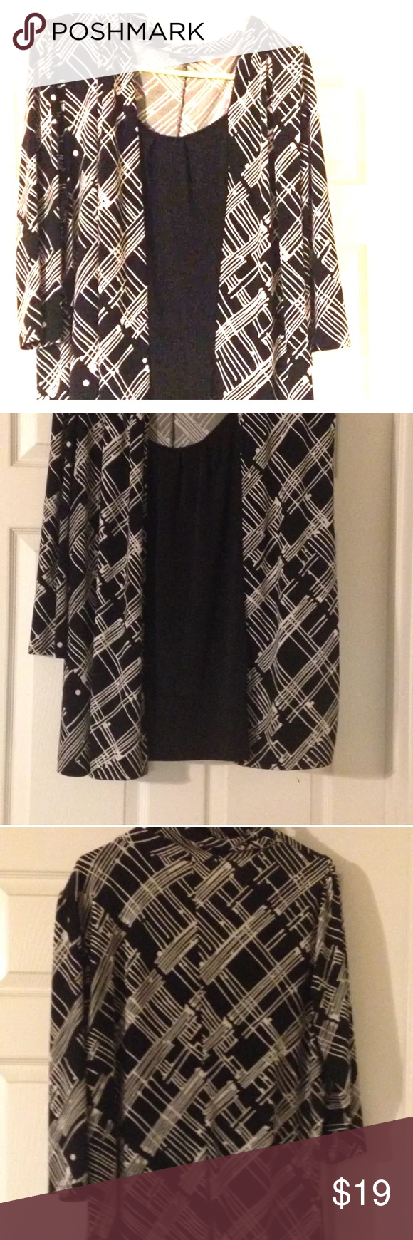 """Black and White Career Top The item featured in this listing is a GENTLY USED """"East 5th"""" one piece blouse size 18/20 (2x).   This beautiful and comfy top is in excellent pristine condition.  It is very clean,  it has no stains or rips, and it is machine washable.!! Tops Blouses"""