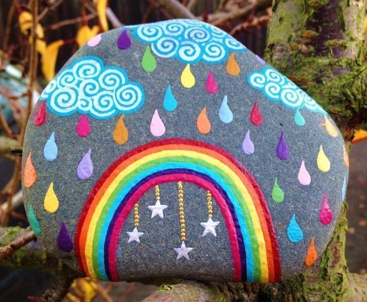 Rainbow rain - stone painting - #rain #rainbow #stone painting#painting #rain #rainbow #stone