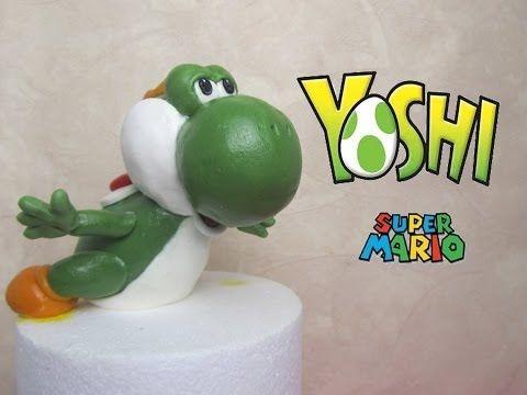 ▶ Yoshi (Mario Bross) in fondant tutorial - Come fare Yoshi di Mario Bross in pasta di zucchero - YouTube