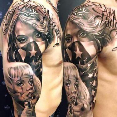 Bandidas In Chicano Style Tattoo Idea Chicano Style Tattoo Full Sleeve Tattoos Chicano Tattoos