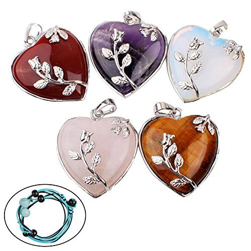 Iminibox 1pcs Natural Amethyst Tiger Eye Heart Reiki Healing Crystal Beads Pendant For Necklace Jewelry Gift (5pcs) iminibox http://www.amazon.com/dp/B015PG54KY/ref=cm_sw_r_pi_dp_QUtswb1K3R9QF