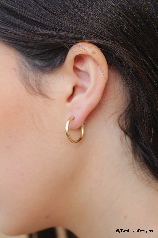 Gold Hoop Earrings 14k Gold Filled Circle Hoops 19mm Medium Gold