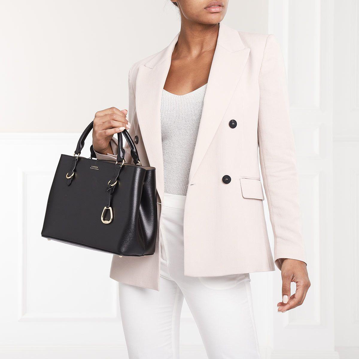 e2e2373c382 Handtasche, Lauren Ralph Lauren, Bennington Satchel Medium Black Truffle