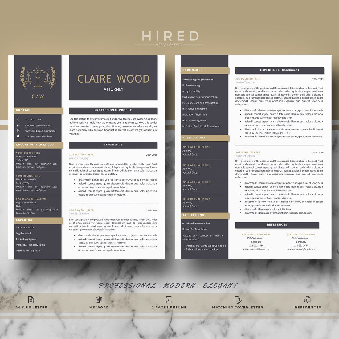 Attorney Resume Template Lawyer Resume Legal Resume Cv Resume Cover Letter References Professional Resume Cv Instant Download Plantilla De Curriculum Hoja De Vida Plantillas Curriculum