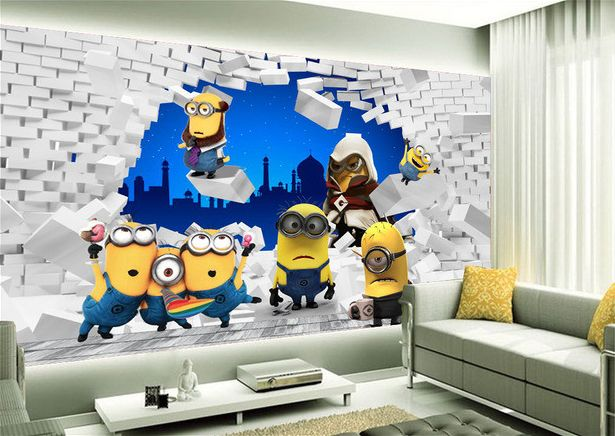 papier peint tapisserie 3d chambre enfant les minions. Black Bedroom Furniture Sets. Home Design Ideas