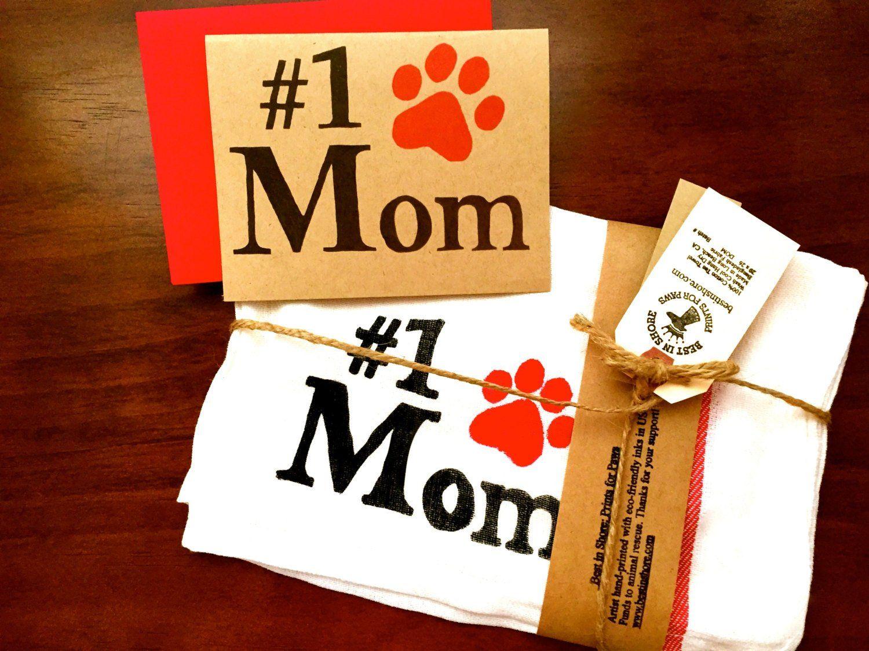 Dog mom tea towels pet parent paw print dish cloths