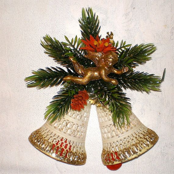 Christmas Bells, 1960s Christmas, Hollywood Regency, Angel, Bells