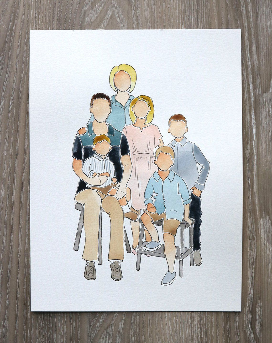 6 Person Watercolor Portrait In 2020 Watercolor Portraits