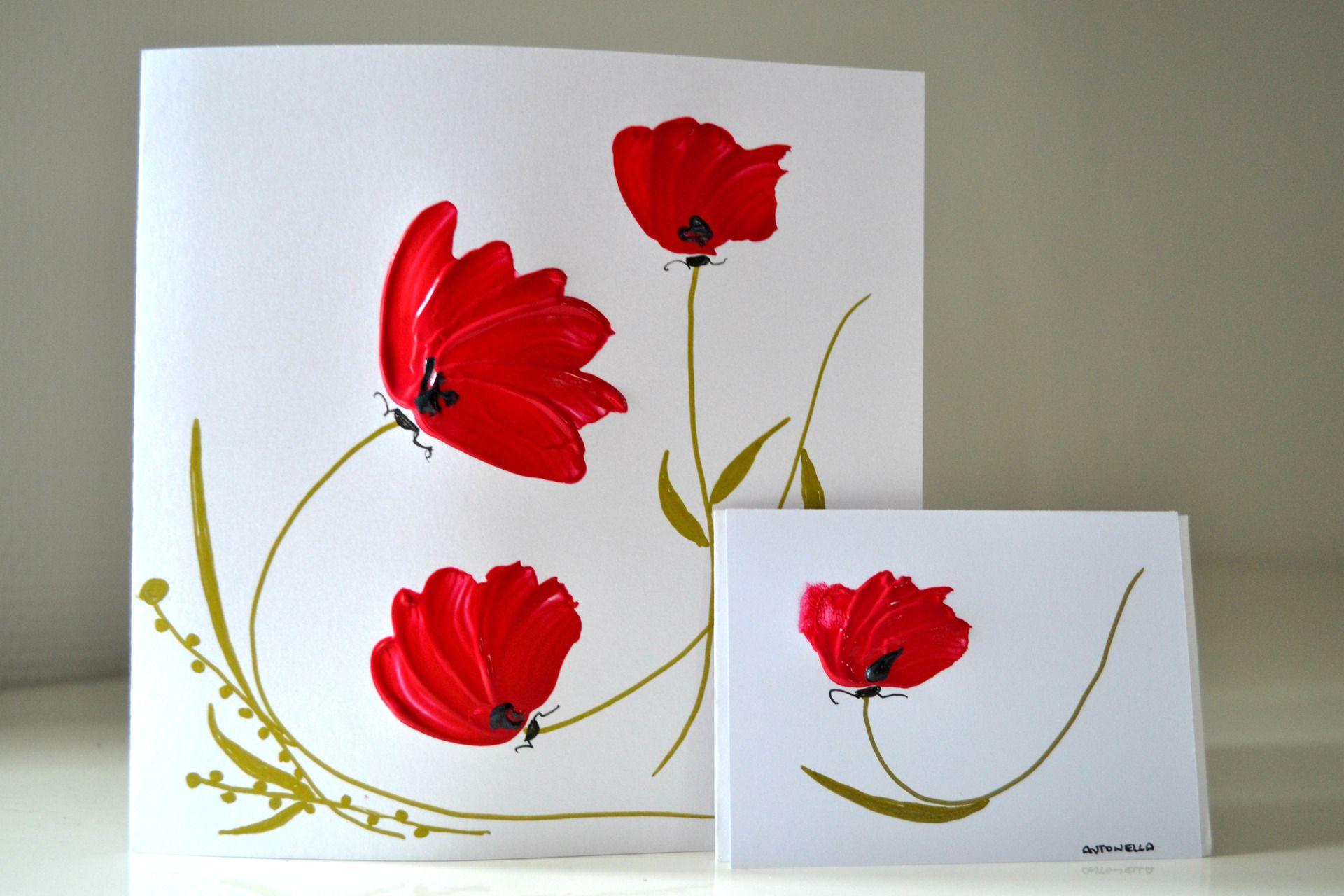 Carte De Voeux Originale Fleurs Rouges Et Sa Petite Carte