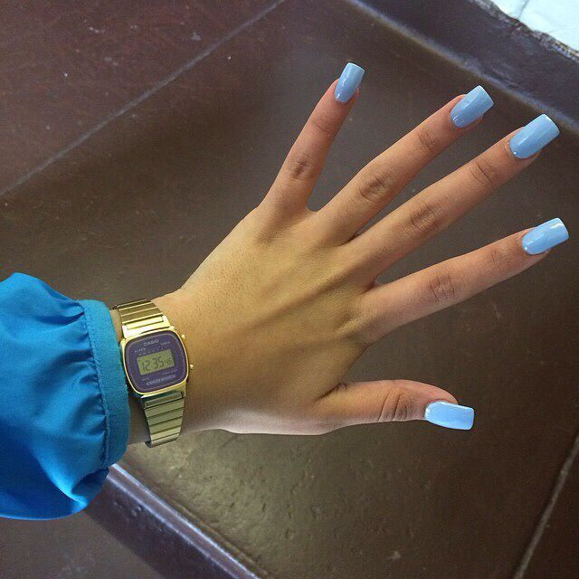 Pintrest Iamalize Love This Color Blue Square Acrylic Nails