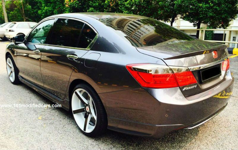 Modified Honda Accord Sedan 9th Generation With 19 Inch 5 Spokes Black And White