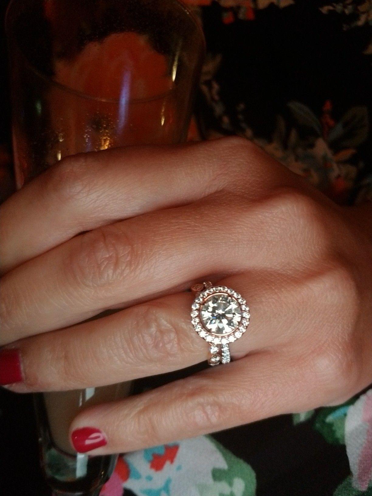 Rose gold halo round diamond wedding engagement ring henry daussi