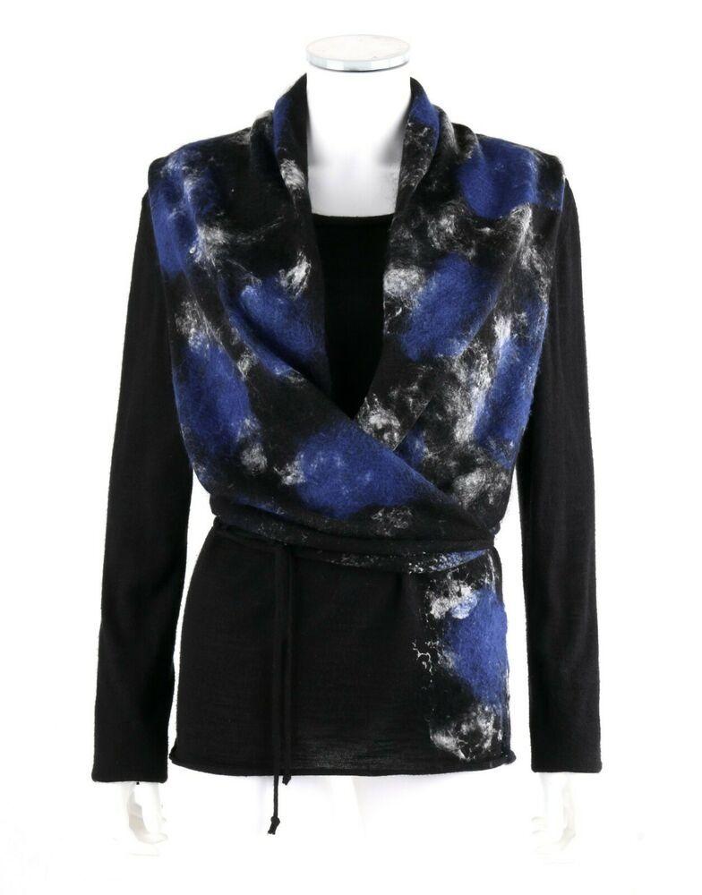 f2238fe2711c73 SARAH PACINI 2Pc Black Alpaca Knit Wrap Vest Bateau Neck Sweater Top Twin  Set OS #SarahPacini #Twinset