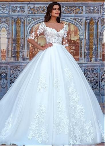 1089b698e8e0 Attractive Tulle & Organza Bateau Neckline Ball Gown Wedding Dresses With  Beaded 3D Flowers