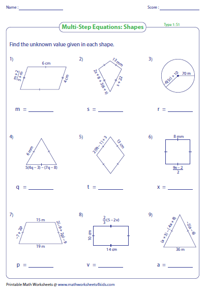 Find The Sides Of The Geometrical Shapes Based On The Multi Step Equations Multi Step Equations Solving Linear Equations Multi Step Equations Worksheets