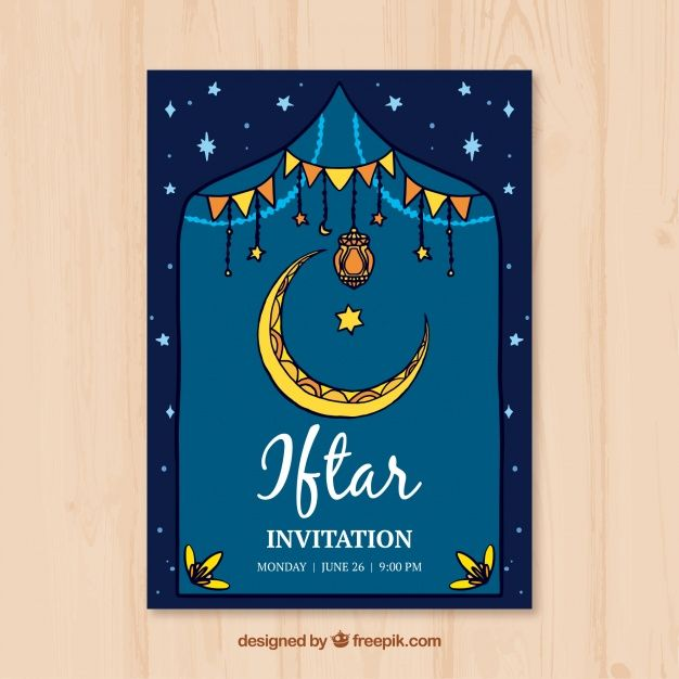 Iftar invitation with hand drawn moon free vector my freepik iftar invitation with hand drawn moon free vector stopboris Images