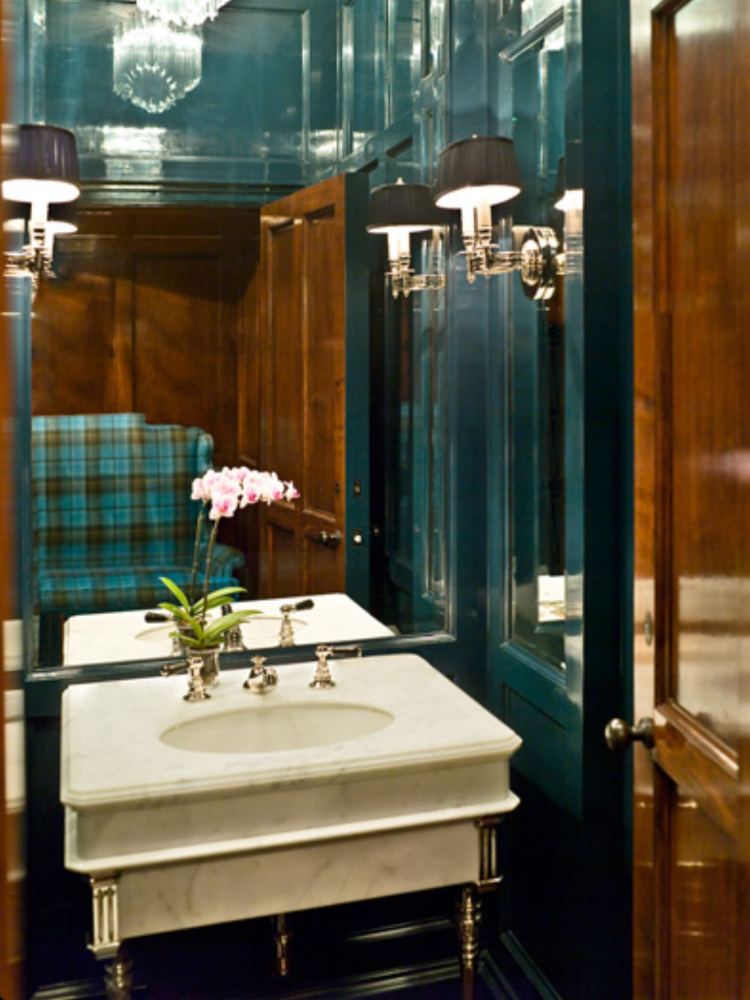 probably a vintage powder room sink green lacquered walls for