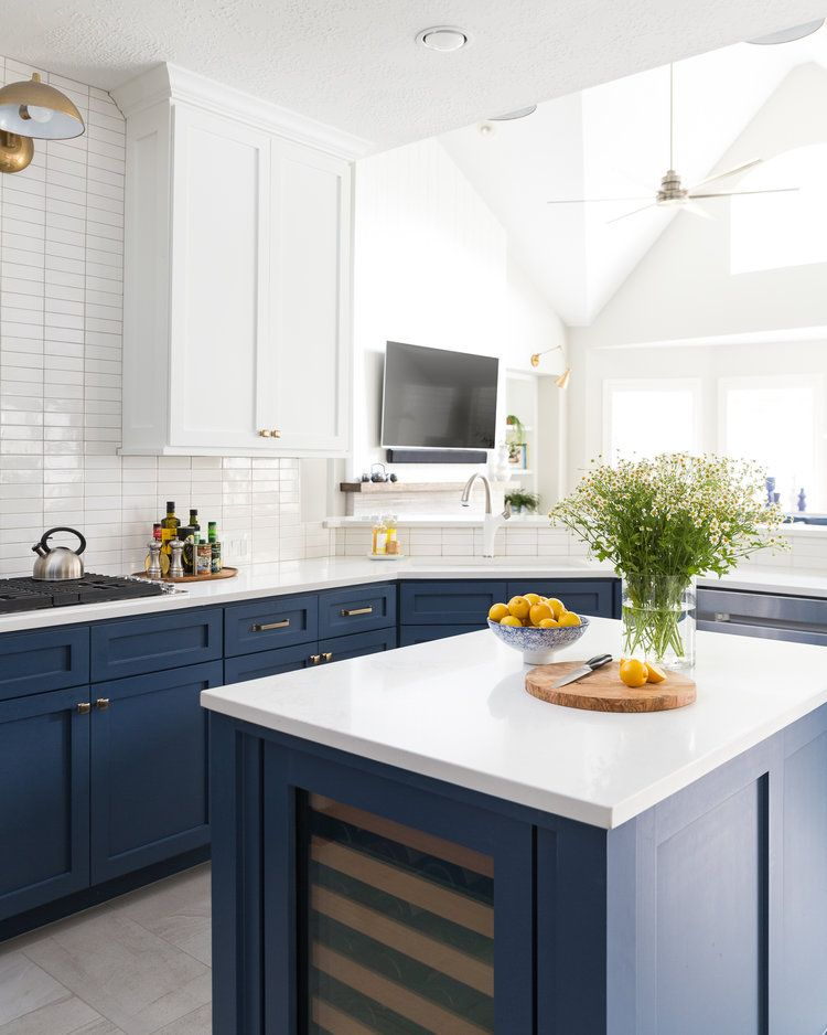 Before And After A Navy And White Kitchen And Breakfast Nook For A Young Family Designed Kitchen Remodel Kitchen Design White Kitchen Remodeling